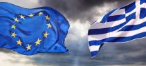 flag of Greece and flag of European Union in Greece